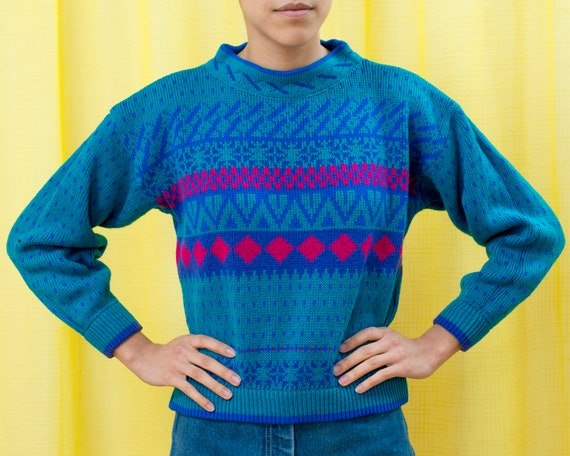 80s blue fair isle graphic sweater small