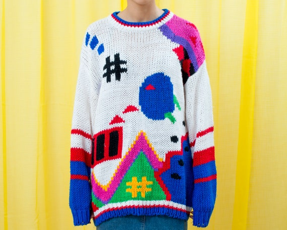 80s rainbow video game graphic sweater xl
