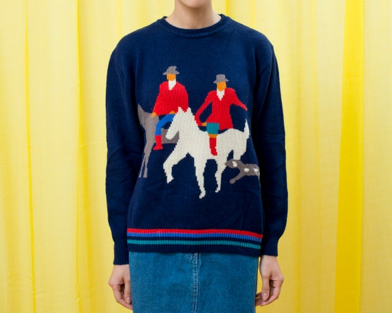 80s navy blue horse graphic equestrian sweater lar