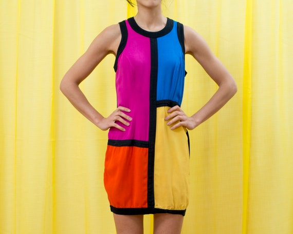 rainbow colorblock mondrian dress