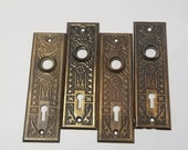 Antique Metal Floral Ornate Door Plates Vintage Hardware Architectural Salvage DIY Project Arts and Crafts A185