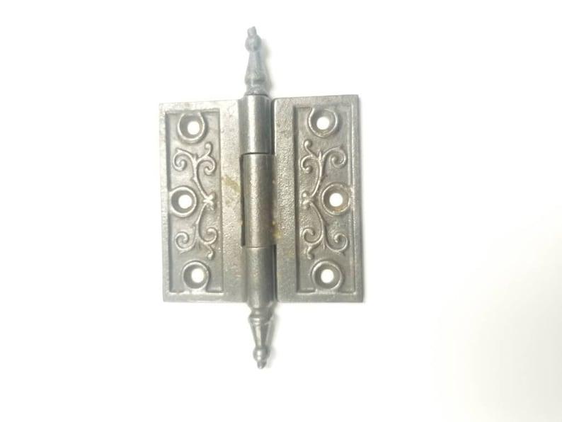 Antique A49 Cast Iron Ornate Victorian Door Hinge Hardware Salvage Architectual