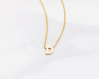 Solid 14k Letter or Name Necklace In Serif Font On A 14k Gold Chain