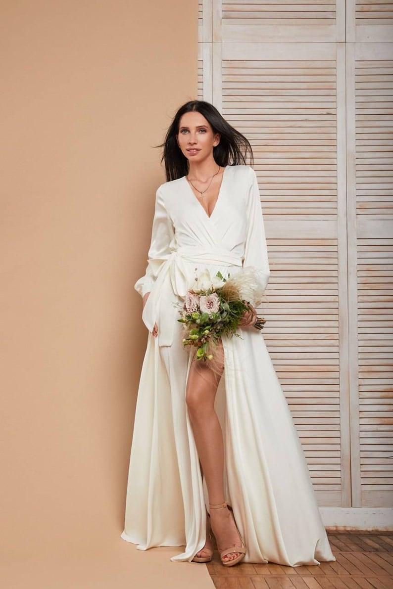 Dubbele laag witte zijden wrap trouwjurk / boho trouwjurk / image 0