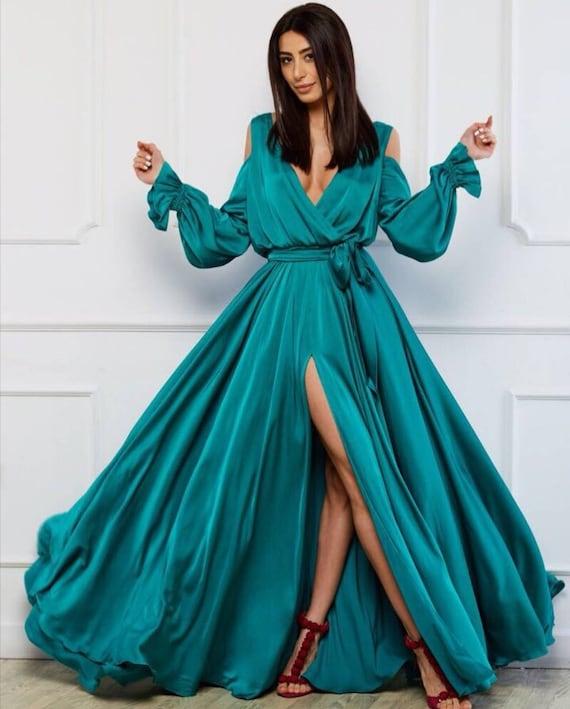 Emerald Wedding Guest Dress Evening Gown Long Sleeve Dress Etsy