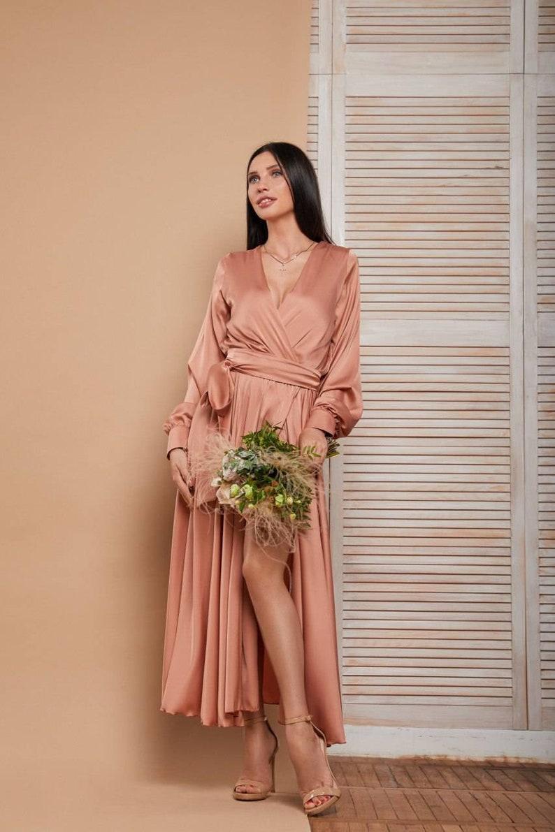Coral midi silk wrap dresssatin midi wrap dresswedding guest dresslong sleeve dressminimalist dressevening dressmidi bridesmaid dress