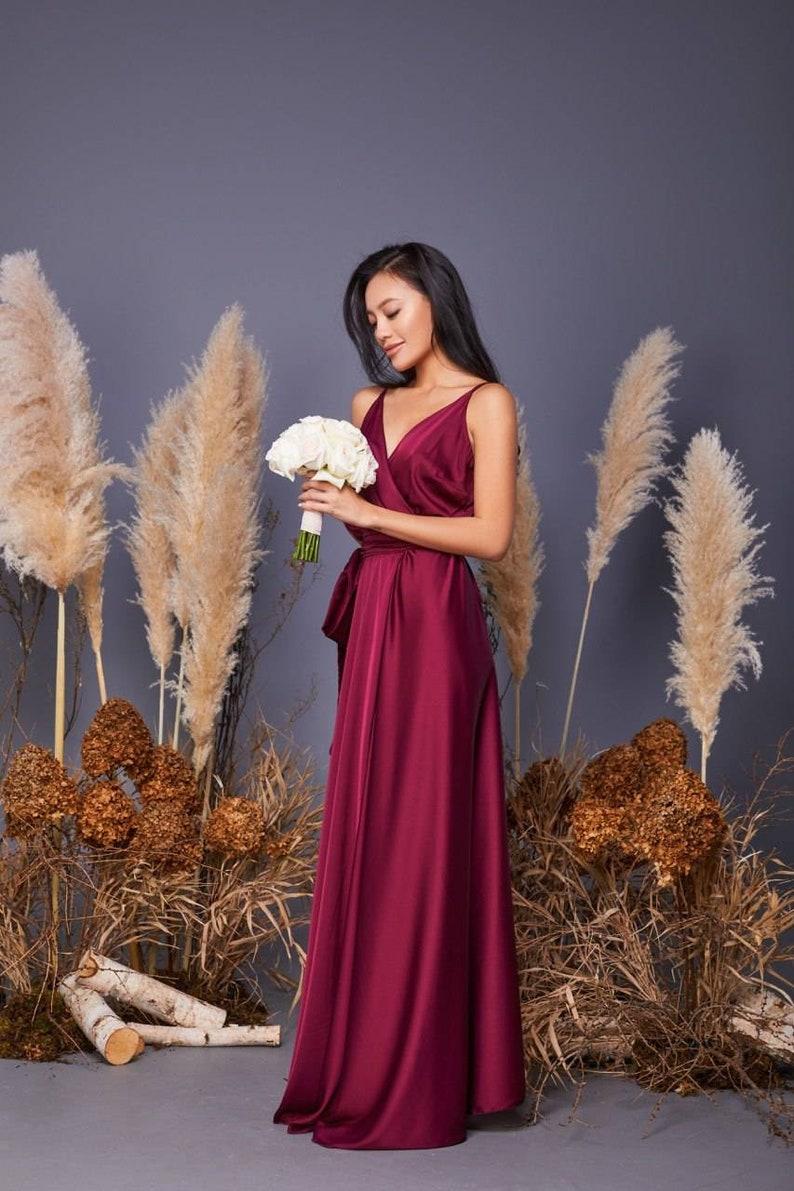 Burgundy silk A-line maxi wrap dresswedding guest dressbridesmaid dressevening dressformal dressburgundy dressgarden wedding dress