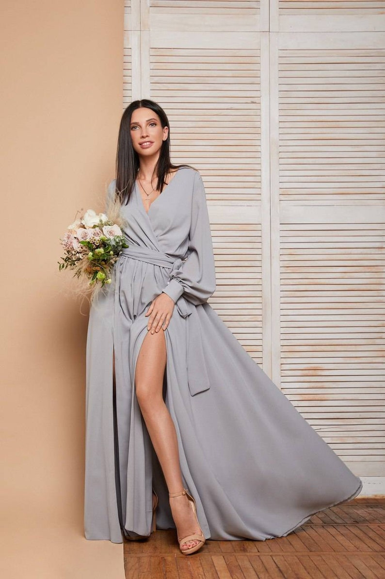 Grau lange Maxi wickeln Kleid / Langarm Kleid ...