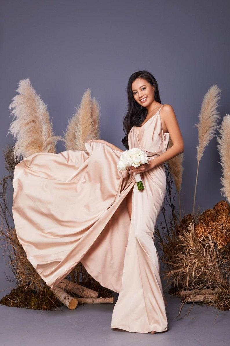 Champagne bridesmaid dress/beige bridesmaid dress/wedding image 3