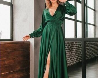 Emerald silk satin A-line maxi wrap dress/emerald bridesmaid dress/mother of the bride dress/prom dress/formal dress/wedding guest dress