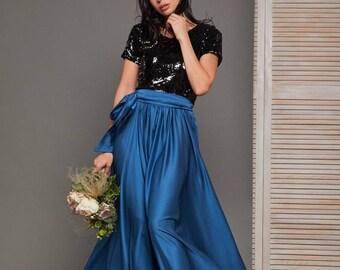 Sapphire blue silk a-line dress/sequin bridesmaid dress/wedding guest dress/beach boho dress/evening dress/prom dress/formal gown/minimalist