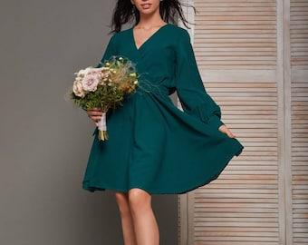 Dark emerald  chiffon short wrap dress/wedding guest dress/minimalist dress/long sleeve dress/knee length dress/beach boho dress/prom dress