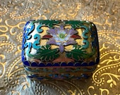 Chinese Cloisonnne and Enamel Open Work Hinged Trinket Box