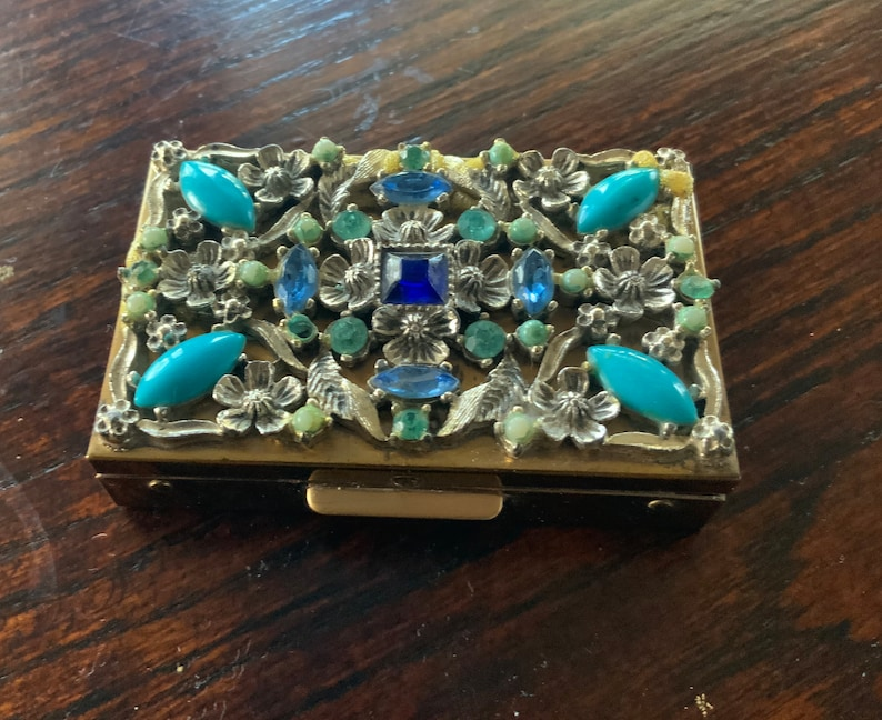 Stunning Vintage Czech Glass and Czech Beads Gold Powder Compact With Mirror Beautiful Condition!