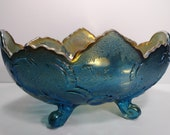 Jeanette Lombardi Footed Rare Blue Colored Carnival Glass Fruit Bowl Centerpiece