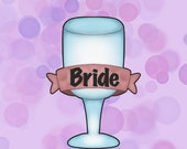Wedding Glass With Banner Cookie Cutter