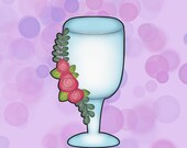 Wedding Glass With Floral Vines Cookie Cutter