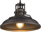 industrial style 1 light Pendant Light, Farmhouse Hanging Light in Oil Rubbed Bronze