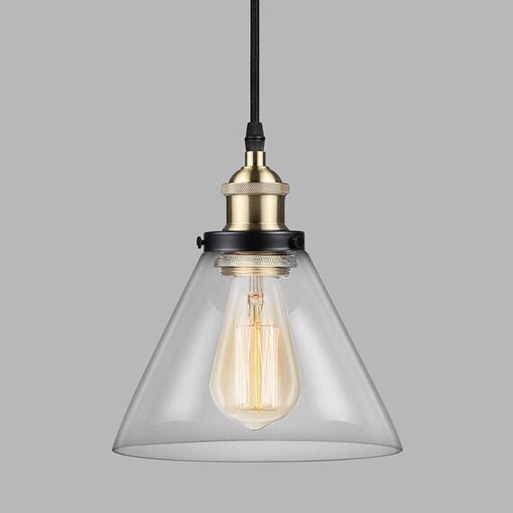 Industrial Style Glass Pendant Light Kitchen Island Pendant Etsy