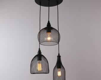 industrial style 3 lights mesh pendant light, nets shade multi pendant lamp