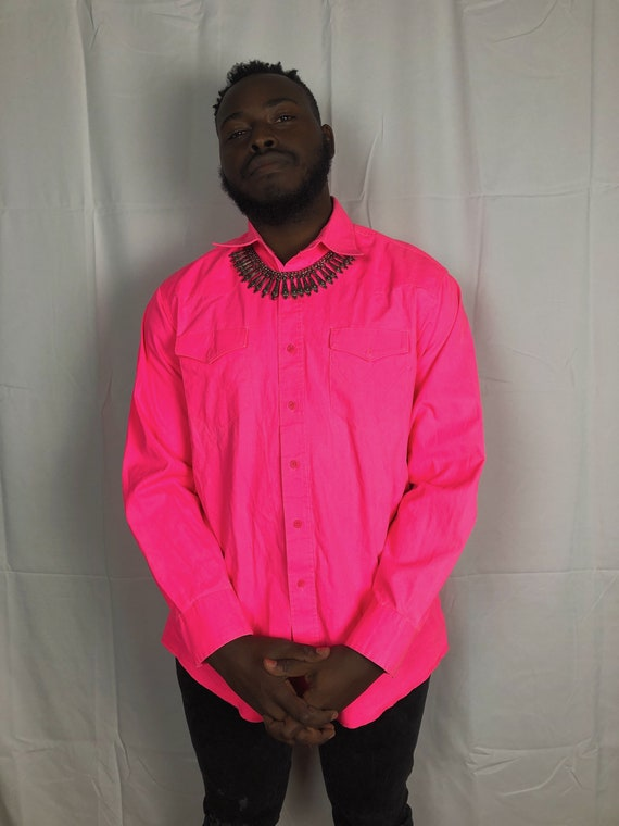 Vintage Neon Pink Button Up