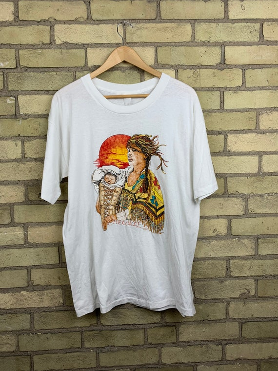 Vintage 90s Cherokee Indian Woman and Baby T-Shirt
