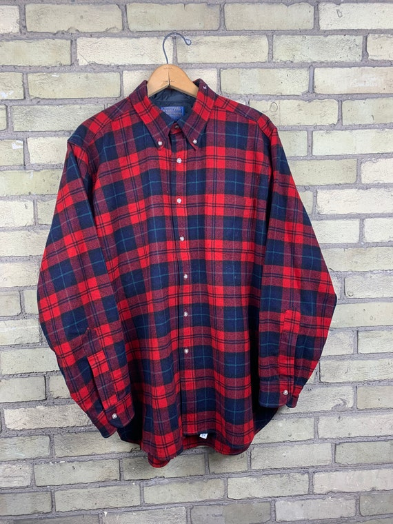 Vintage 90s Pendleton Wool Tartan Plaid Flannel Sh