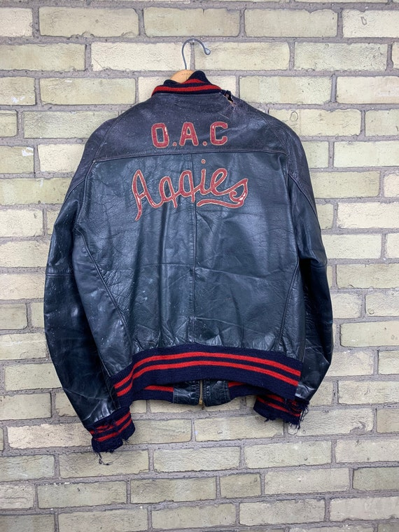 Vintage 50s Guelph OAC Aggies Leather Letterman Ja
