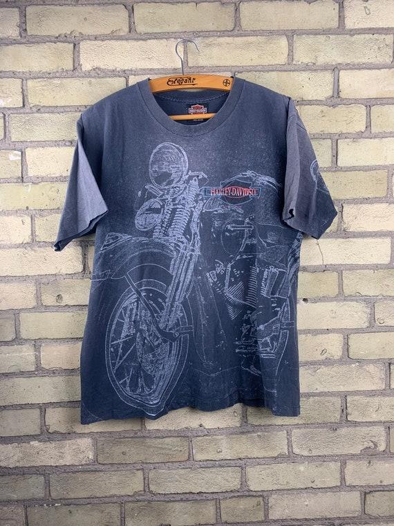 Vintage 90s Harley Davidson Motorcycle All Over Pr
