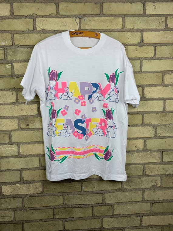 Vintage 80s Happy Easter Colourful Puff Print T-Sh