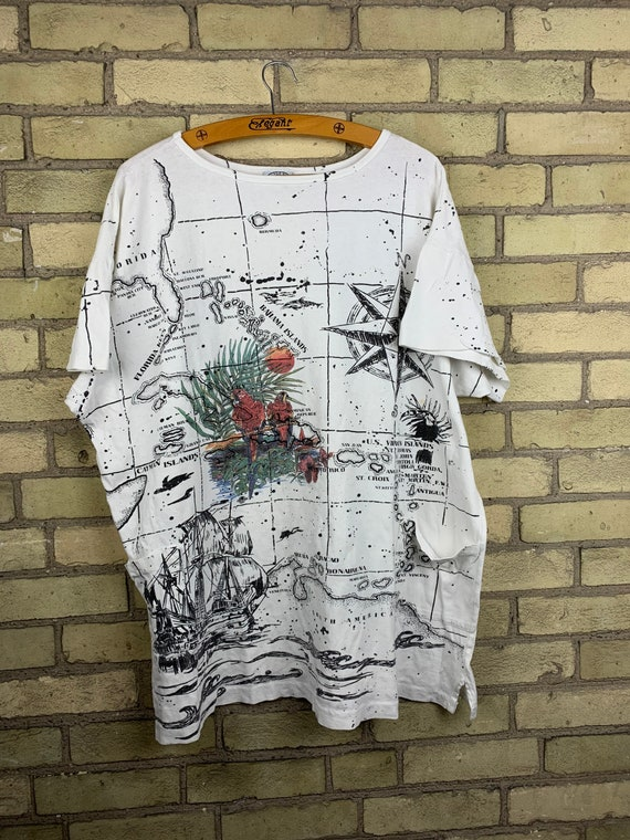 Vintage 90s Ocean Map Print All Over Print T-Shirt