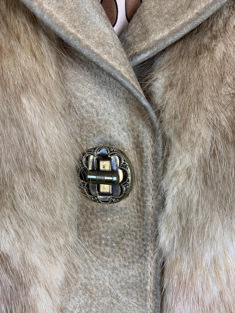 Vintage 70s Brown Rabbit Fur /& Suede Leather Jacket
