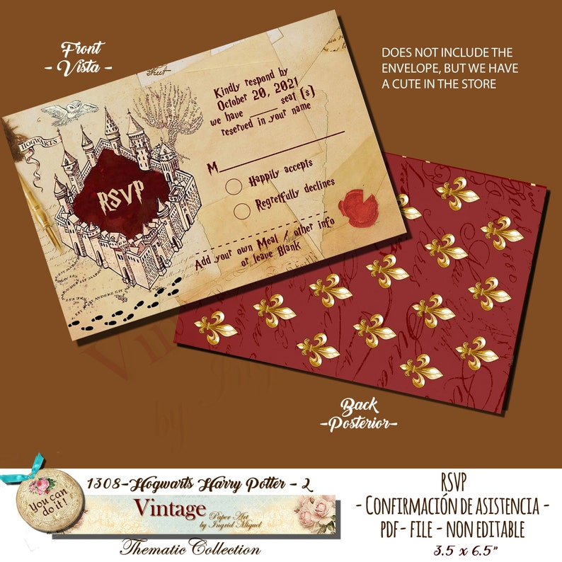 graphic regarding Harry Potter Envelope Printable titled Marriage RSVP Card , Hogwarts Harry Potter. PDF Non EDITABLE, Printable, Quick Obtain, Adorable 16, Quinceañtechnology / F-1308