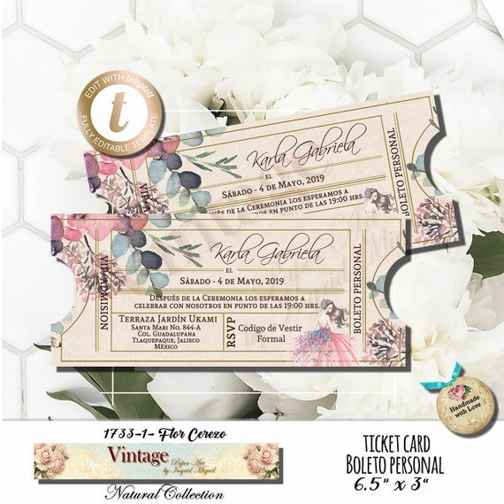 Ticket Card Sweet Sixteen Xv Años Birthday Party Instant Download Editable Printable Template Edit With Templett F 1733