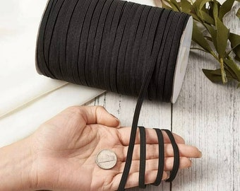 Knitted Elastic Black /& White 1 1//2 inch made in the USA  Same Day Free Shipping