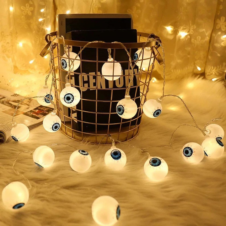 LED eyeball spooky string lights Halloween decoration