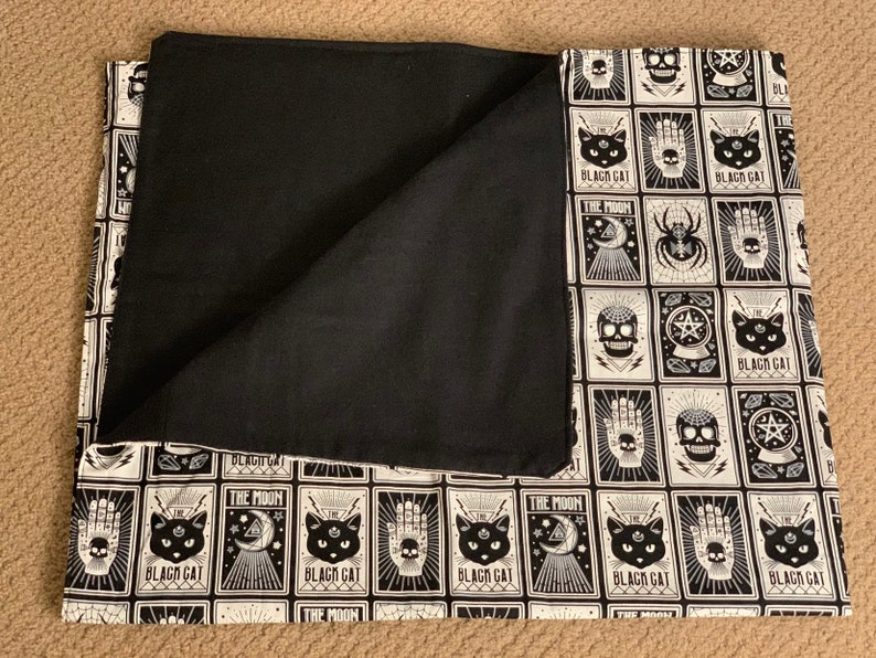Soft Cotton gothic witch Baby Blanket spooky cat goth black