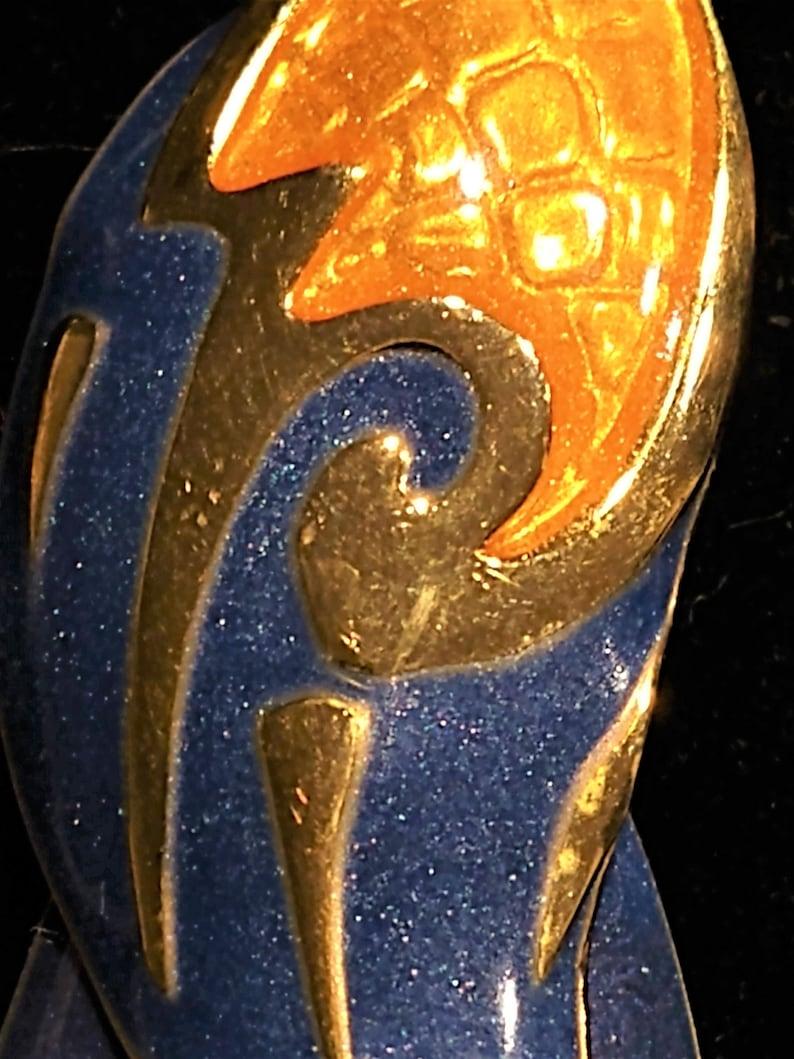 Vintage Signed Edgar Berebi in INDIGO PURPLE /& GOLD Enamel Pierced Dangle Drop Earrings