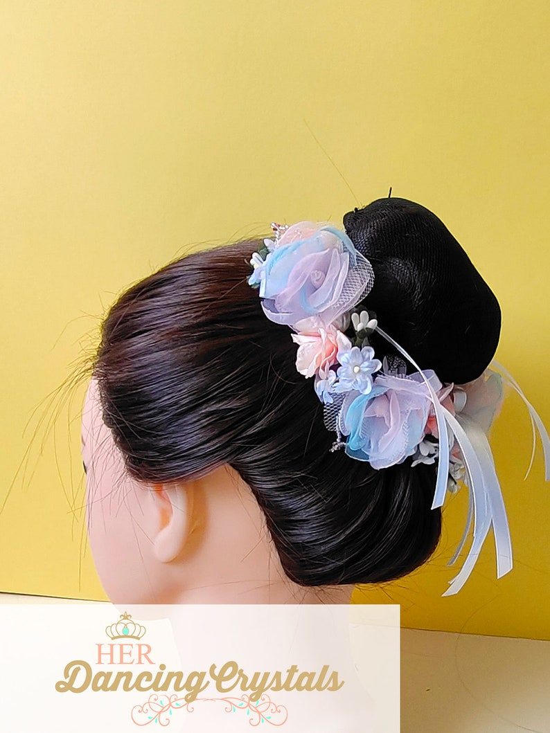 Pastel Flowers Ballet Bun Crown for Peasant roles in Giselle Swanilda and Flower Festival