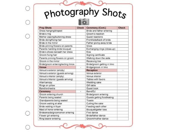 Wedding Photography Checklist template - Wedding photographer business  forms - Printable templates for photographers