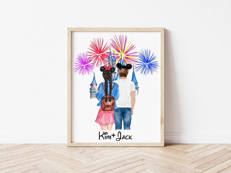 Girlfriend Gift BFF Gift Personalized Couple Illustration Couple Gift Boyfriend Gift Valentine/'s Day Gift