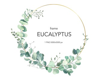 Eucalyptus Wreaths Green wedding Wreaths and Frames Greenery Watercolor Clip Art Eucalyptus Branches Gold Geometric Frames Eucalyptus
