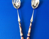 Vintage EPNS Serving Spoon and Fork with Imari Handle, 30cm