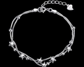 Genuine 925 Sterling Silver Wome's Lovely Stars Beads Charm Bracelet Chain Gift