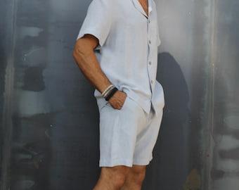 Organic Linen men's pajama set/Pajama gift for men/Dallas Linen Men pajamas /Linen sleepwear for men. Men's washed Linen pajamas.