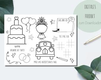 Malvorlage -Kinder Hochzeit-Spiel-Malen- Datei -PDF zum Selbstausdrucken-Für Hochzeiten