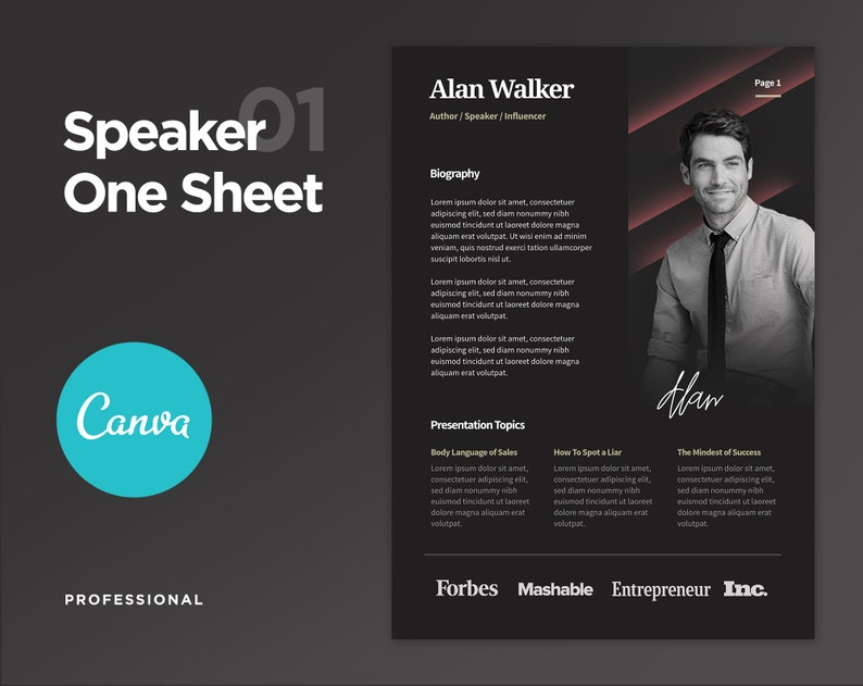 Professional Speaker One Sheet Template Public Speaker One Sheet Motivational Speaker One Sheet Edit On Canva And Photoshop