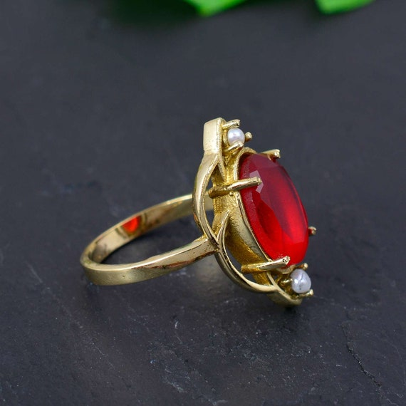Corundum Red Onyx Top Quality Gemstone Ring Cut Stone Boho Ring Yellow Colour Brass Ring Fashion Jewelry Item Gift For HerETSY TOP SELL