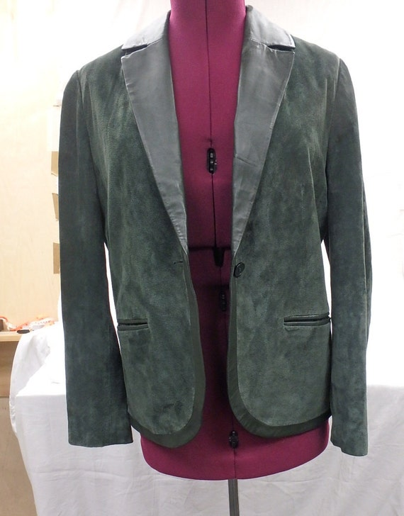 Women's  leather Jacket, green suede