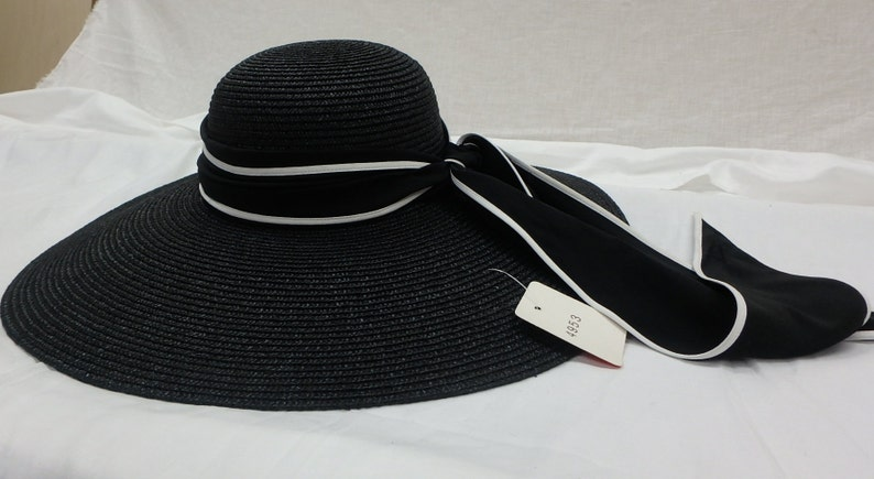 Black straw Sun Hat with a black and white silk scarf band